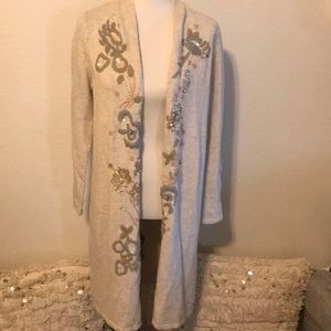 Chico's Heathered Oatmeal Embroidered Sweater 1